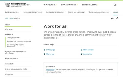 Screenshot of Jobs Page mbie.govt.nz - Work for us | Ministry of Business, Innovation & Employment - captured Dec. 19, 2018
