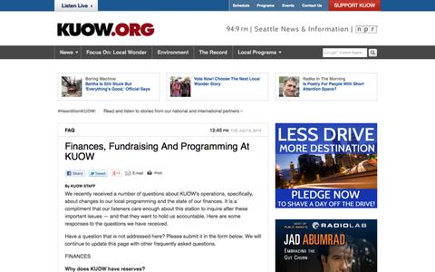Screenshot of FAQ Page kuow.org - Finances, Fundraising And Programming At KUOW | KUOW News and Information - captured Sept. 22, 2014