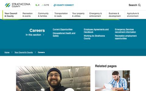 Screenshot of Jobs Page strathcona.ca - Careers | Strathcona County - captured Sept. 29, 2018