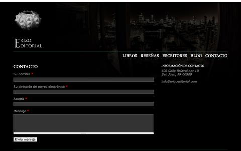 Screenshot of Contact Page erizoeditorial.com - Contacto | Erizo Editorial - captured May 6, 2016