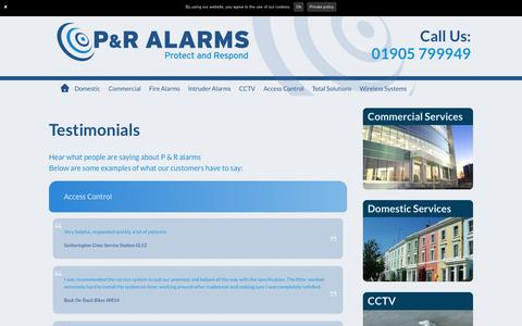Screenshot of Testimonials Page pr-alarms.co.uk - testimonials - P&R Alarms - captured Jan. 24, 2016