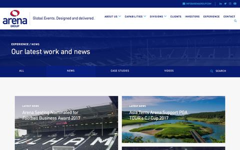 Screenshot of Press Page arenagroup.com - News from high-quality temporary event infrastructure experts Arena Group - captured Oct. 8, 2017