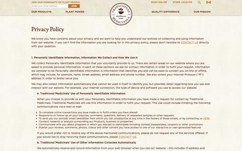 Privacy Policy - Traditional Medicinals