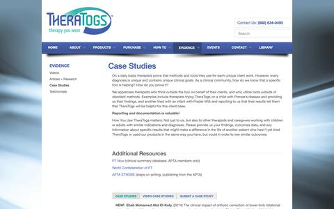 Screenshot of Case Studies Page theratogs.com - Case Studies | TheraTogs - captured Oct. 18, 2018