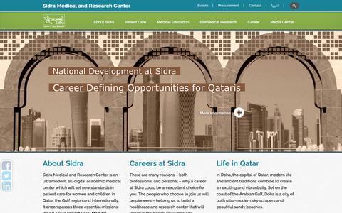 Screenshot of Home Page sidra.org - Sidra Medical and Research Center | Doha – Qatar - captured Sept. 19, 2014