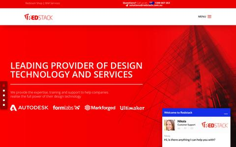 Screenshot of Home Page redstack.com.au - Redstack. Solutions for Engineers, Architects and Designers. - captured Oct. 20, 2018