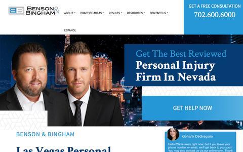 Screenshot of Home Page bensonbingham.com - Personal Injury Lawyer Las Vegas & Henderson, NV   Benson & - captured Aug. 22, 2019