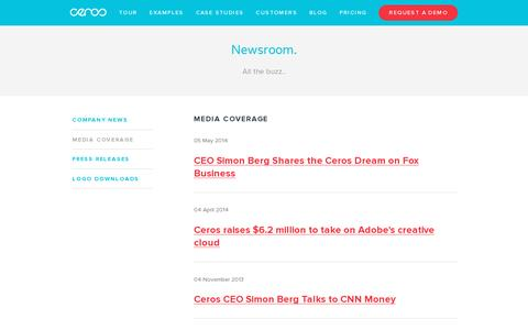 Screenshot of Press Page ceros.com - Media Coverage — Digital Catalog Software & Content Marketing Software | Ceros - captured July 18, 2014