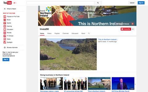 Screenshot of YouTube Page youtube.com - InvestNI  - YouTube - captured Oct. 23, 2014