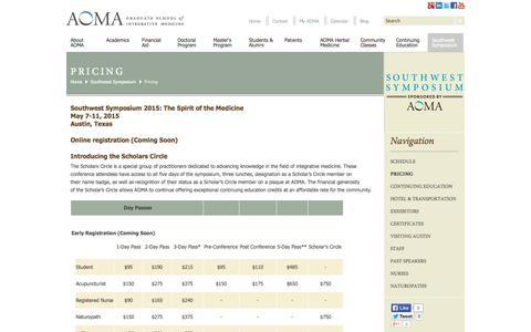 Screenshot of Pricing Page aoma.edu - AOMA School of Integrative Medicine   Continuing Education   Pricing - captured Sept. 23, 2014
