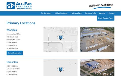Screenshot of Contact Page Locations Page all-fab.com - All-Fab Building Components Primary Locations - All-Fab Building Components - captured Oct. 3, 2018