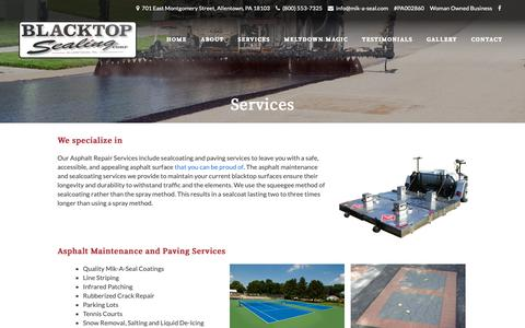 Screenshot of Services Page mik-a-seal.com - Asphalt Repair Services | Blacktop Sealing Corp | Allentown PA - captured Oct. 4, 2018