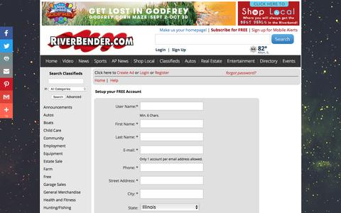 Screenshot of Signup Page riverbender.com - Free Classifieds | RiverBender.com -  - Register - captured Sept. 5, 2016