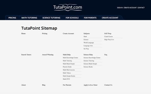 Screenshot of Site Map Page tutapoint.com - Sitemap | Online Tutoring - Tutapoint - captured Jan. 20, 2016
