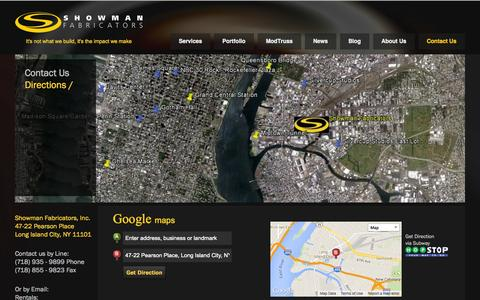 Screenshot of Maps & Directions Page showfab.com - Location and Directions | Showman Fabricators - captured Oct. 4, 2014