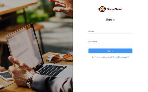 Screenshot of Login Page socialchimp.com - SocialChimp - Automate your social media - captured Sept. 21, 2018