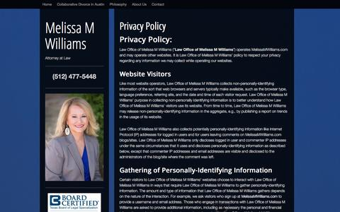 Screenshot of Privacy Page melissamwilliams.com - Privacy Policy - Melissa M Williams - captured Jan. 10, 2016