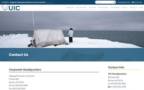 Screenshot of Contact Page uicalaska.com - Contact Us | UIC Alaska - captured Oct. 18, 2018