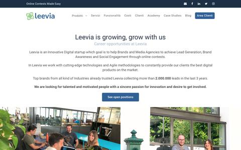 Screenshot of Jobs Page leevia.com - Leevia Careers - Lavora con noi ed entra nella nostra squadra - captured Sept. 12, 2018