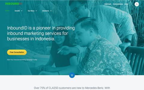 Screenshot of Home Page inboundid.com - InboundID - Indonesia's First Inbound Marketing Agency - captured July 21, 2018