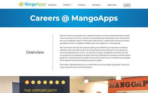 Screenshot of Jobs Page mangoapps.com - Careers @ MangoApps | MangoApps - captured Oct. 16, 2019