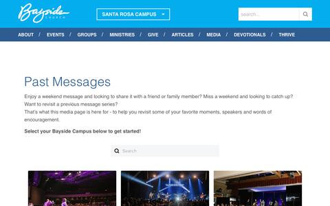 Screenshot of Press Page baysideonline.com - Past Messages | Bayside Church, Santa Rosa Campus - captured Oct. 30, 2018