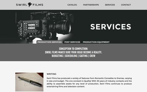 Screenshot of Services Page swirlfilms.com - Services - Swirl Films - captured Aug. 18, 2016