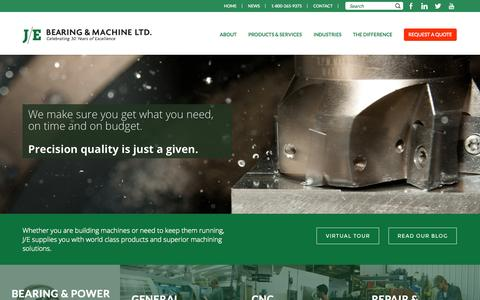 Screenshot of Home Page je-bearing.com - J/E Bearing and Machine Ltd | Machine Shop Ontario Canada - captured Oct. 3, 2014