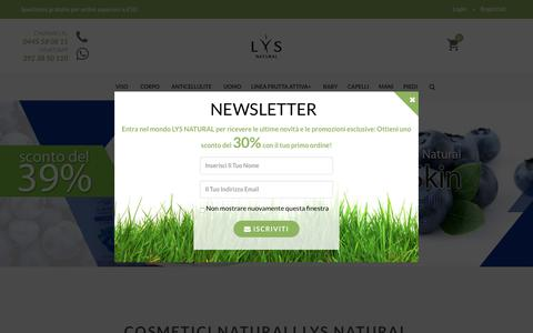 Screenshot of Home Page lysnatural.com - Cosmetici naturali, scrub corpo, cosmetici vegani, crema antirughe| Lys Natural - captured March 26, 2018