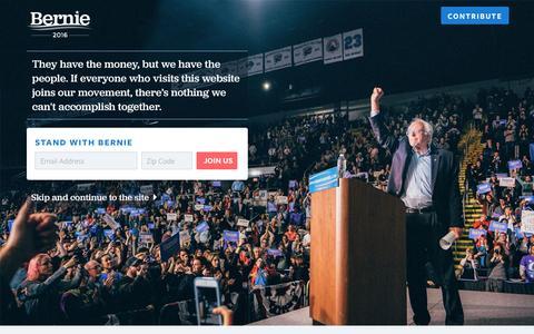 Screenshot of Landing Page berniesanders.com - Bernie Sanders for President     Contribute to Bernie Sanders - captured Oct. 18, 2016