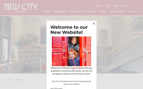 Screenshot of Contact Page newcityschool.org - Contact - New City School - captured Aug. 12, 2019