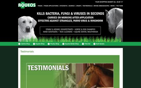 Screenshot of Testimonials Page aqueos.co.uk - Testimonials - captured Feb. 6, 2016