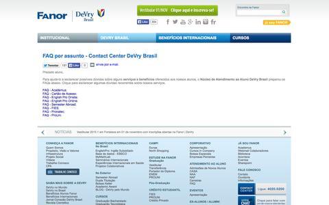 Screenshot of FAQ Page fanor.edu.br - FAQ por assunto - Contact Center DeVry Brasil - captured Oct. 30, 2014