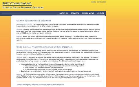 Screenshot of Case Studies Page debrakurtz.com - Kurtz Consulting Inc - Strategic Sales & Marketing Solutions - captured Nov. 27, 2016