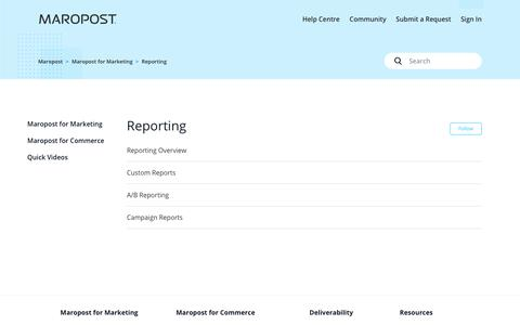 Screenshot of Support Page maropost.com - Reporting – Maropost - captured July 1, 2019