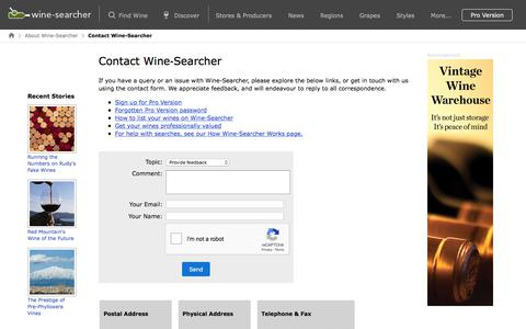 Screenshot of Contact Page wine-searcher.com - Contact Wine-Searcher - captured Sept. 20, 2018