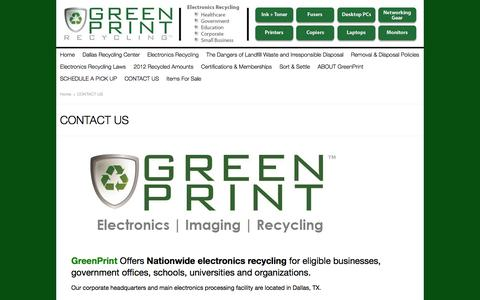 Screenshot of Contact Page greenprintrecycling.com - Contact GreenPrint Recycling | Responsible Electronics Recycling - captured Sept. 30, 2014