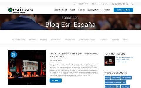 Screenshot of Blog esri.es - Blog Esri España - Esri España - captured Nov. 9, 2018