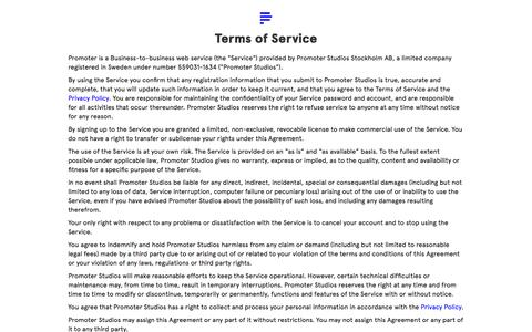 Screenshot of Terms Page promoterapp.com - Promoter – Track press mentions and distribute promo codes - captured Feb. 21, 2016