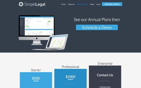 Screenshot of Pricing Page simplelegal.com - Caroline says... - captured Feb. 20, 2016