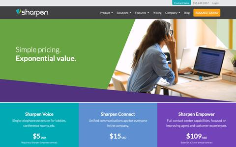 Screenshot of Pricing Page sharpencx.com - Pricing - Sharpen Contact Center Software - captured Oct. 10, 2018