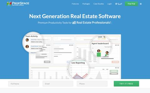 Screenshot of Home Page propspace.com - Global Real Estate Software - the definitive CRM software - PropSpace - PropSpace Real Estate CRM - captured Jan. 18, 2016
