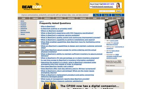Screenshot of FAQ Page bearcom.com - Two-Way Radios | Walkie-Talkies | 2-Way Radio | BearCom: FAQs - captured Sept. 30, 2014