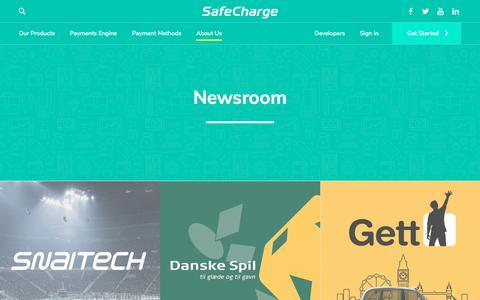 Screenshot of Press Page safecharge.com - Press Releases - SafeCharge - captured Sept. 13, 2018