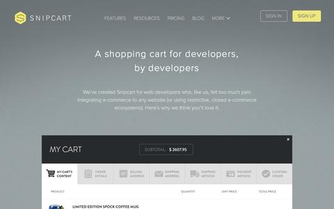Screenshot of Developers Page snipcart.com - Developers - Snipcart - captured July 9, 2016