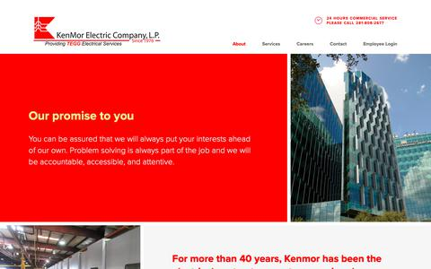 Screenshot of About Page kenmor.com - About - KenMor Electric - captured Oct. 15, 2018