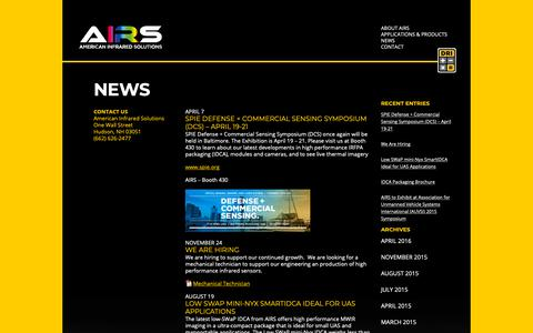Screenshot of Press Page go-airs.com - News - American Infrared Solutions (AIRS) - captured Oct. 3, 2018