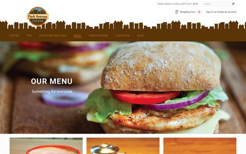 Screenshot of Menu Page parkavenuecoffee.com - Menu – Park Avenue Coffee - captured May 14, 2017
