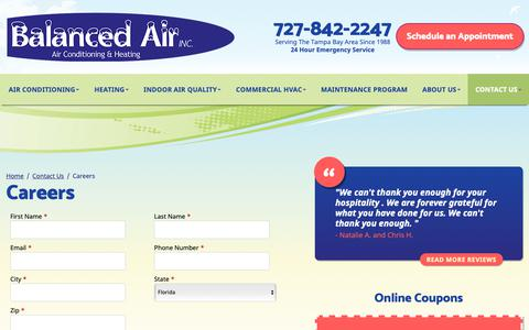 Screenshot of Jobs Page balancedair.com - Careers | Balanced Air, Inc. - captured Oct. 5, 2018