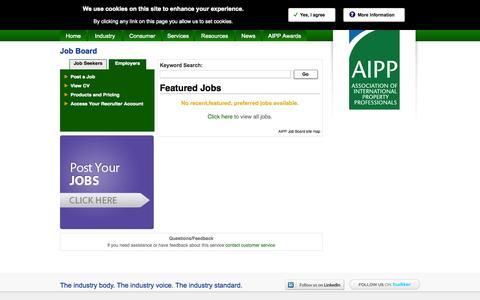 Screenshot of Jobs Page aipp.org.uk - Career Centre Jobs - AIPP Job Board - captured Sept. 18, 2014